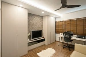An entertainment/study room fused with modernised oriental elements