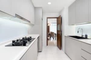 A minimalist kitchen that uses fenix laminate to achieve a clean cut look
